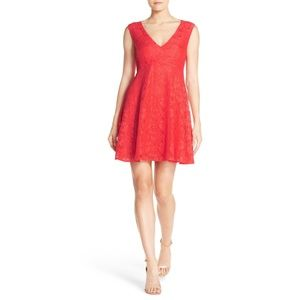 NWT French Connection Lace Fit & Flare Red Dress